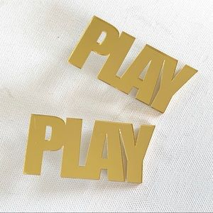 Jewelry - Gold mirror acrylic PLAY earrings